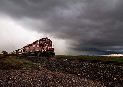 ll Art Print - Picture of Locomotive Passing Through Storm in Oklahoma Railroad Decor Artwork for Home Decoration 5x7 to 30x45 ()