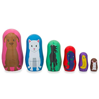 BestPysanky Set of 6 Dog, Cat, Horse, Fish, Chick & Bunny Animal Friends Plastic Nesting Dolls 4.5 Inches: Toys & Games