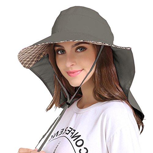 Jormatt Women Outdoor Sun Hat Sun Blocker Fishing Hiking Running Gardening Hat with Neck Flap Protection Coverage Lightweight Breathable Summer UPF 50+ Folding UV Sun Cap,01Dark Grey
