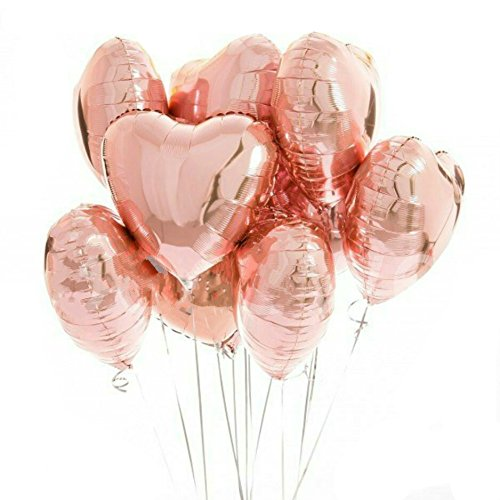 Yalulu 18inch Heart-Shaped Rose Gole Foil Mylar Balloons - 10pcs Love Balloons for Birthday Party Decoration Wedding Decoration