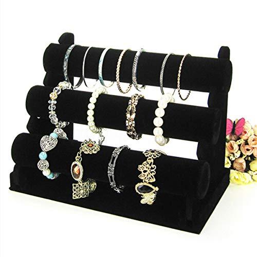 Bracelet Holder with Three Tier Rack ~ Velvet Bracelet Stand ~ Jewelry Organizer ~ Bangle Display (Black - 3 Tier Stand) from Hivory