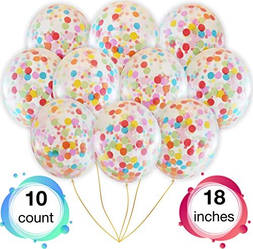 Rainbow Multicolor Confetti Balloons | Bright Colorful Confetti Pre-Filled | Wedding Engagement Birthday Party Events (10 Pack Rainbow, 18 inches) for $<!--$14.95-->