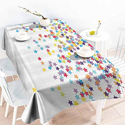 Fabric Dust-Proof Table Cover House Decor Collection Falling Star Shaped Confetti Birthday Anniversary Surprise Party Celebration Themed Print Blue Purple Party W60 xL84