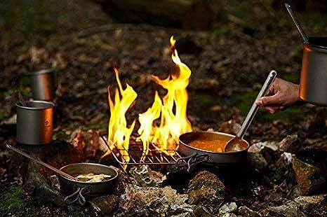 Picknick Wandern Kochgeschirr-Set mit Einer Tragetasche Bag ZYVoyage Outdoor Camping Titan leicht Topf Pfanne Set