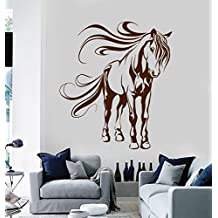 BorisMotley Wall Decal Beautiful Horse Vinyl Removable Mural Art Decoration Stickers for Home Bedroom Nursery Living Room Kitchen