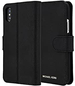 Michael Kors Saffiano Leather Folio Case for iPhone X - Black