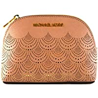 Michael Kors Jet Set Travel Saffiano Leather Women's Large Travel Pouch Cosmetic Case with Gold Toned Lace Accents
