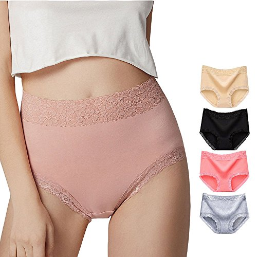 Timpom Women's Cotton Underwear Panties Seamless Lace Soft Comfortable Breathable Mid Waist Briefs for Lady 4 Pack (US XX-Large/Tag 5X-Large, muticoloured)