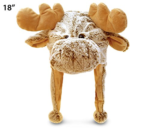Puzzled Brown Moose Plush Hat, 18