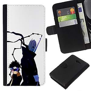 All Phone Most Case / Oferta Especial Cáscara Funda de cuero Monedero Cubierta de proteccion Caso / Wallet Case for Sony Xperia M2 // Japanese Cartoon Faceless Man