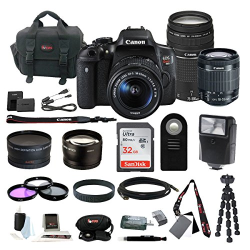 Canon EOS Rebel T6i Digital SLR w/ EF-S 18-55mm f/3.5-5.6 IS STM Lens & 75-300mm f/4.0-5.6 EF III Zoom Lens + 58mm Wide & Telephoto Lens + Flash + 32GB SD Card + 3pc Filter Kit + Bundle