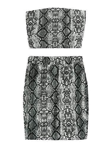 Floerns Women's Casual Snake Print Two Piece Bandeau Skirt Set Muti XS