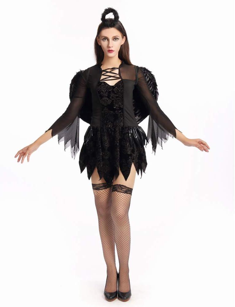 42cmx35cm Hook Ali/Nere ed Aureola Angelo Ali/Diavolo Carnevale Halloween Ali Piumate 1x Maleficent Corna.