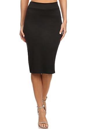Simlu Black Pencil Skirt Black Below The Knee Skirt Black Office Skirts For  Women, Small
