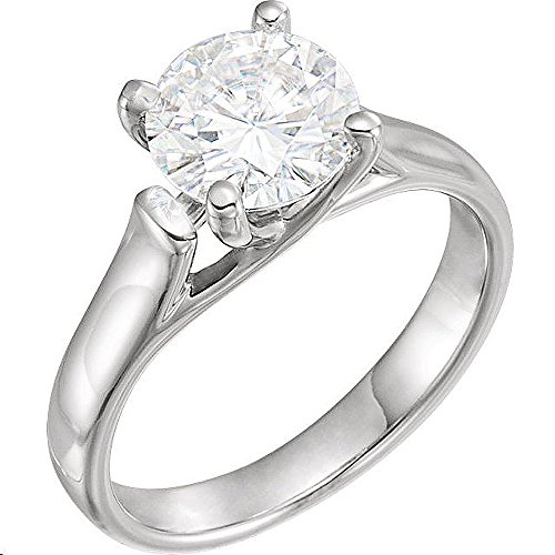 (Gorgeous! FOREVER BRILLIANT! 14k White-gold 8.00MM (2CT) Moissanite Solitaire Engagement Ring Size 6)