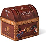 Crocodile Creek Pirate's Treasure Double Fun Jigsaw Puzzle in Treasure Trunk Shaped Box (48 Piece)