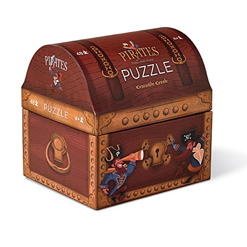 Crocodile Creek Pirate's Treasure Double Fun Jigsaw Puzzle in Treasure Trunk Shaped Box (48 Piece)]()