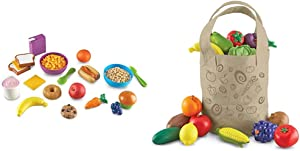 Learning Resources New Sprouts Munch It! Pretend Play Food, Toddler Outdoor Toys, Picnic Playfood, 20 Pieces & Fresh Picked Fruit and Veggie Tote, 17 Piece, Age 18 Months+, Multicolor,8 L x 9 W in