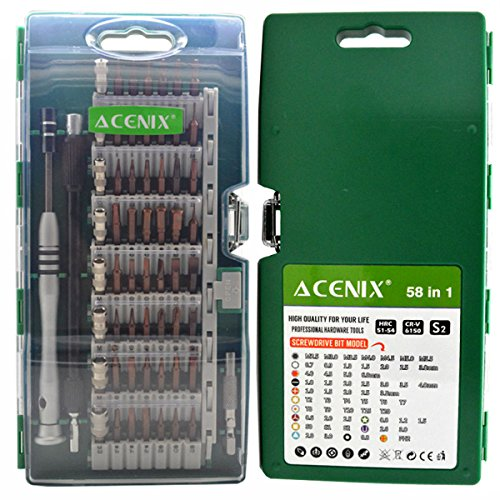 ACENIX 58 in 1 Precision Screwdriver Set with 54 Magnetic Bits for all Electronics Devices iPhone Samsung HTC Laptop PC Nokia iPad iPod Tablets Macbook Xbox Consoles Cell Phones (Ball 56 Links Swivel)