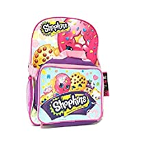 "Shopkins School Backpack Set 16"" Large Backpack with Matching Lunch Bag-purple"