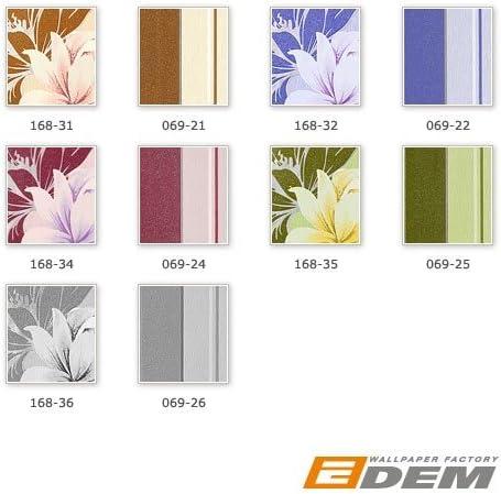 Papel pintado vin/ílico de dise/ño floral EDEM 168-36 gris blanco plata gris claro glitter
