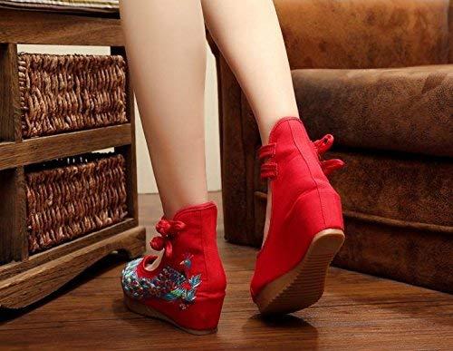 Etnico Casual Tendine Moda colore Suola Femminili Scarpe Ricamate Rosso Dimensione Comodo Aumentate Fuxitoggo Stile 37 Lino HqIPFYWWwS