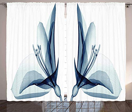 Ambesonne Xray Flower Decor Collection, X-ray Inspired Transparent Image of Amaryllis Flower Nature Decorating Artwork, Living Room Bedroom Curtain 2 Panels Set, 108 X 84 Inches, Teal White