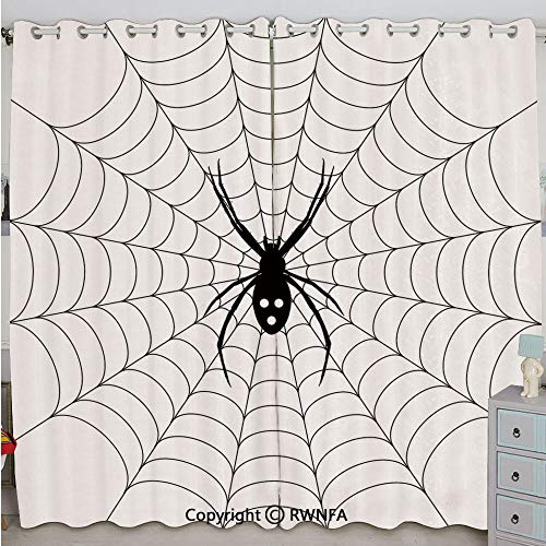 Justin Harve window Poisonous Bug Venom Thread Circular Cobweb Arachnid Cartoon Halloween Icon Decorative Bedroom Living Room Curtain Set of 2 Panels(100