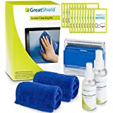 GreatShield Screen Cleaning Kit with 2 Bottle Solution (60ml and 120ml), 2 Microfiber Cloths, 20 Non-Alcohol Screen Cleaning Wipes, and Brush for Laptops, PC monitors, Smartphones, Tablets, iPhone, iPad, LED, TVs, DSLR Cameras, Camcorders