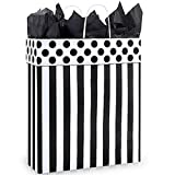 Domino Alley Paper Shopping Bags - Queen Size - 16 x 6 x 19in. - Pack of 100