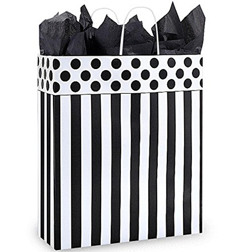 Domino Alley Paper Shopping Bags - Queen Size - 16 x 6 x 19in. - Pack of 100 by NW
