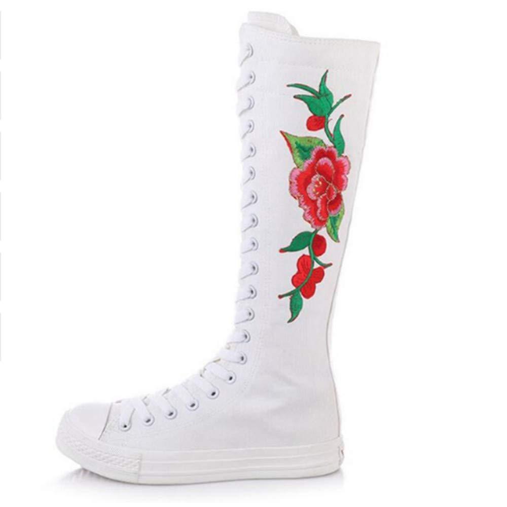 FMWLST Bottes Nouveau Nouveau Nouveau Genou Bottes Hautes Dames Chaussures De Toile Plate-Forme De Broderie Dames Bottes Chaussures De Danse en Dentelle Mince 39 f27a24