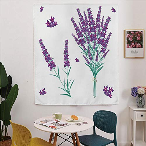 Lavender Blackout Window curtain,Free Punching Magic Stickers Curtain,Aromatic Blossoms Bouquet from Provence France Fragrant Herbal Flora Decorative,for Living Room,study, kitchen, dormitory, Hotel,P