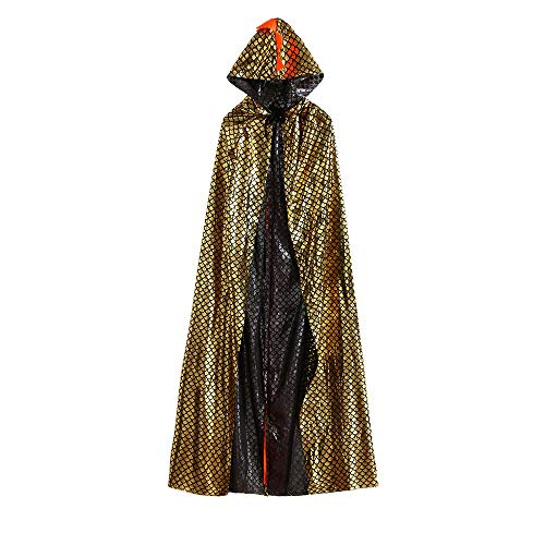 Kids Children Baby Boys Girls Halloween Hooded Cloak Cape Dinosaur Party Robe Outfits Clothes (150, Gold)
