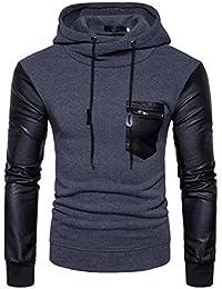 Men's Faux Leather Splice Hooded Hoodies Long Sleeve Outerwear