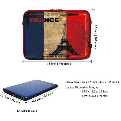 15 39,62 cm violett farblich passender Tasche Tragetasche mit verstecktem Griff aus Neopren für Notebooks und Schultergurt Camera France Eiffel Tower