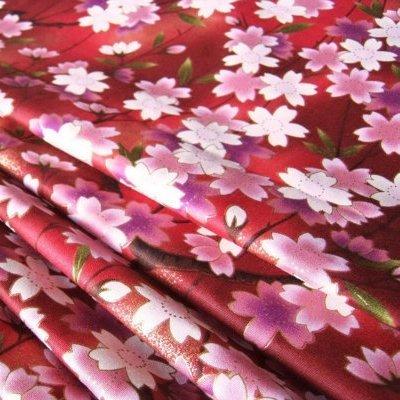 Fabric Cherry Blossoms - Red Sakura Cherry Blossom Janpanese Red Sweet Kimono 36 by 36-Inch Wide (1 Yard) (FBA-KM013)