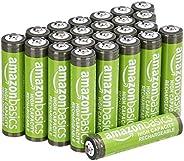 Amazon Basics Pacote com 24 pilhas recarregáveis AAA de alta capacidade de 850 mAh, pré-carregadas, podem ser