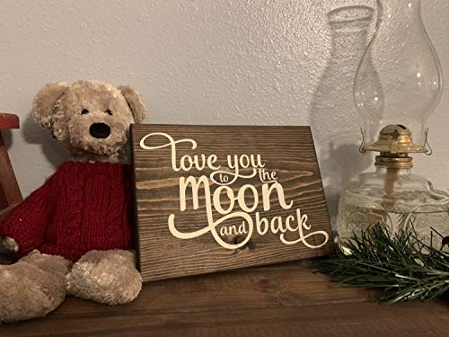 CELYCASY Love You to The Moon and Back Wood Sign | Children
