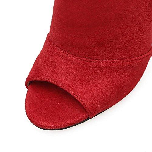 Zapatos 3 nocturno Negro Alto Ante XIE L Estilete Sandalias Tobillo 35 Mirar furtivamente Vestir UK EUR Tacón Dedo rojo Club Fiesta del Mujer Correa pie Hebilla aAw1YAq4