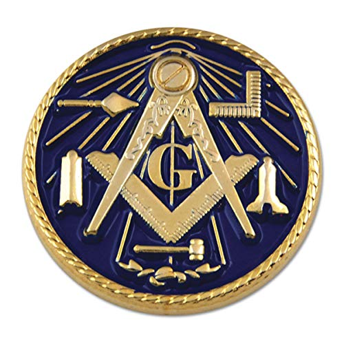 Working Tools Square & Compass Round Blue Masonic Lapel Pin - 1