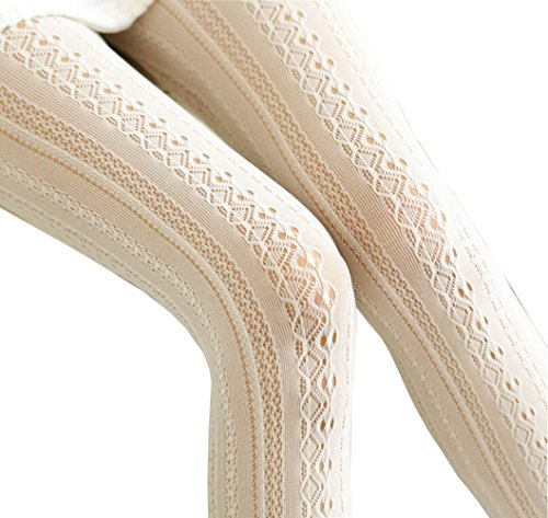 Women Fishnet Hollow Out Chiffon Lace Stockings Tights Vertical Strips Pantyhose For Female (creamy white)