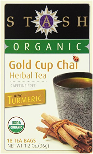 Stash Tea Organic Gold Cup Chai Herbal Tea with Turmeric, 18 Count (Pack of 6)