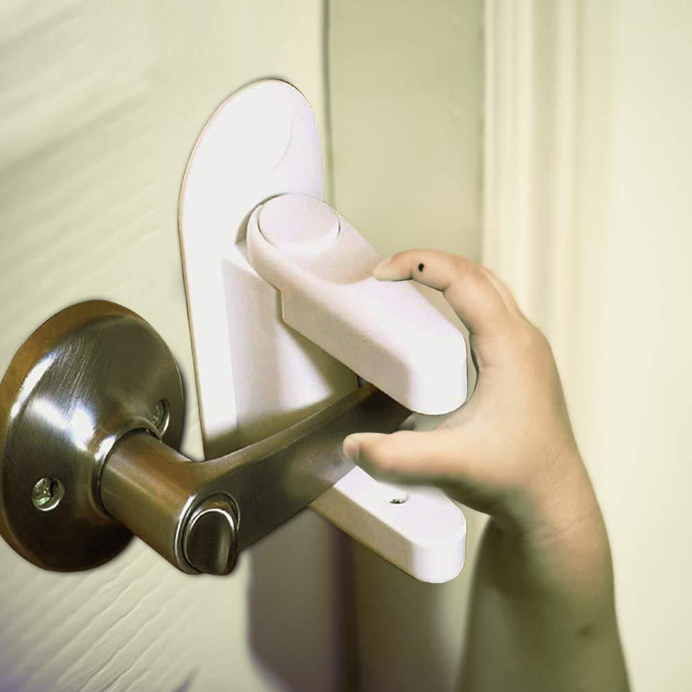 2 Pack Door Lever Lock,Baby Child Toddler Proof Safety Door Locks,Door Handle Lock,Child Proof Door Handles Lock,Cabinet and Drawer Locks Child Safety,3M Adhesive Door Saftey for Kid