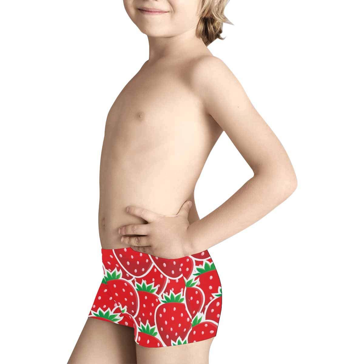 5T-2XL INTERESTPRINT Boys Red Strawberries Boxer Brief Underwear