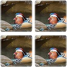 MSD Square Coasters Non-Slip Natural Rubber Desk Coasters design 25475195 Mandarin duck on move the water surface