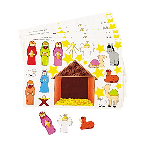 Fun Express - Make-A-Nativity Stickers for Christmas - Stationery - Stickers - Make - A - Scene (Sm) - Christmas - 12 Pieces -