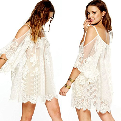 Wensltd Clearance! Hippie Boho People Embroidered Floral Lace Crochet Mini Dress (S, White - Peoples Clearance