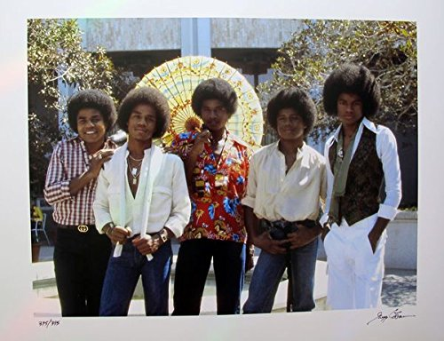 Artwork by The Jackson Five Hand Signed Limited Edition Photograph By Gregg Cobarr Measures 16 Inches X 20 Inches by Leos Coffers