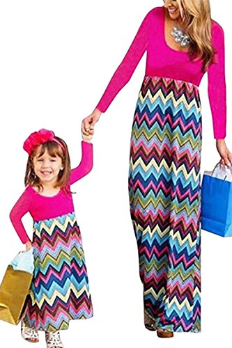 - Mommy and Me Long Sleeve Boho Striped Chevron Maxi Dresses Rose+Green XL